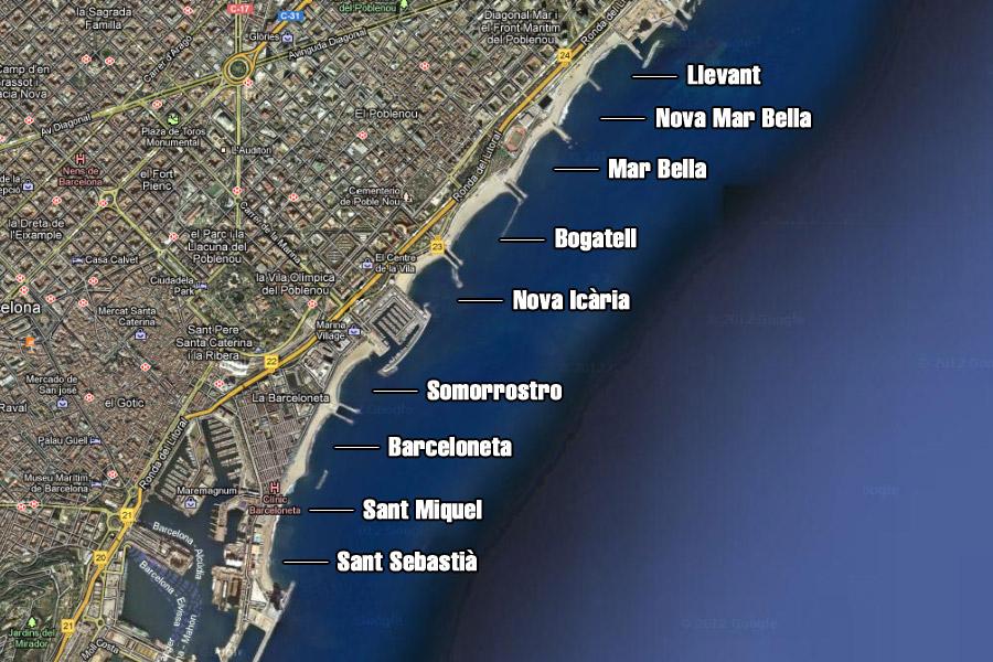 Praias da cidade de Barcelona
